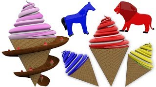 Learn Colors with Wild Animals Ice Cream Slider for Kids - Colors Ice Cream for Toddlers