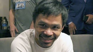 MANNY PACQUIAO LAUGHS AT THURMAN'S SHIRT DISSING HIM