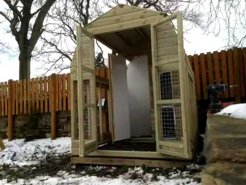 8 x 6 dutch barn dog kennel and run youtube for Red barn dog kennel