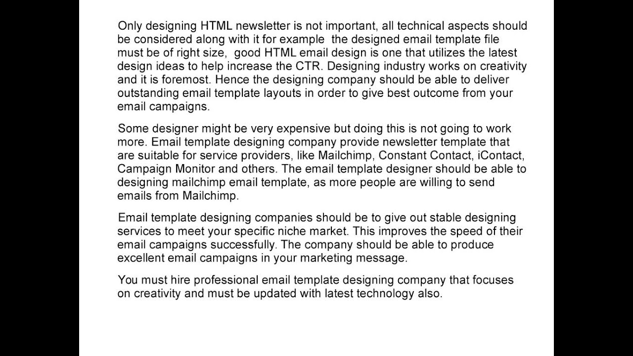 Things that makes HTML coded Email template designing company ...