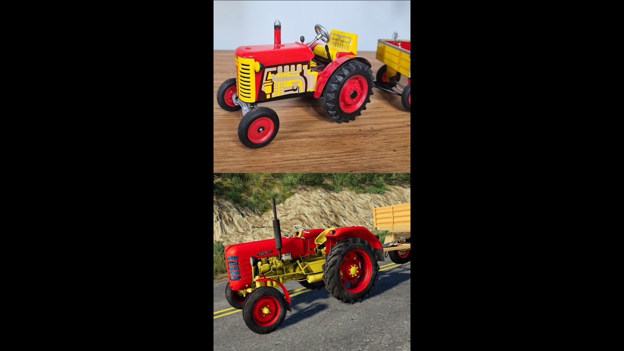 Metal Tractor Model with a Trailer VS Tractor from Game - The tractors are great   Wind up Tractor🚜