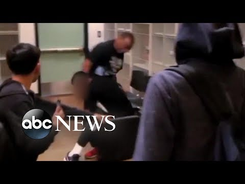 Violent brawl between teacher and student in California classroom