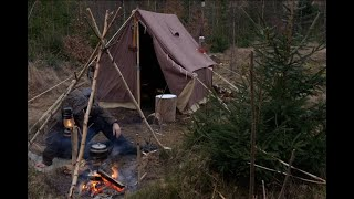 Winter Camping in Heąvy Overnight Snowstorm - Canvas Wall Tent - Blizzard - Off Grid - Bushcraft