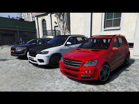 GTA V | MERCEDES ML BRABUS VS. BMW X5M HAMANN VS. AUDI Q7 AS7 V12 ABT | GTA 5 MOD - YouTube