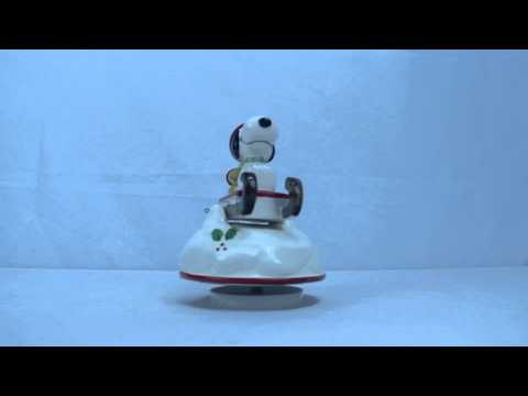 Vintage Christmas Snoopy and Woodstock Ceramic Wind Up Music Box