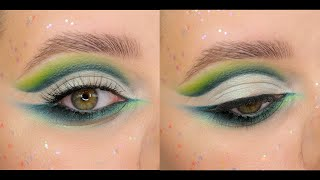 Повторяю макияж с марафона НаталиныMUA Яркий зелёный макияж в форме кат крис cut crease