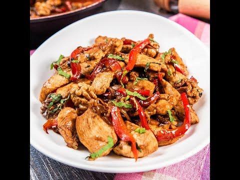 Stir-fry cu pui, legume și nuci