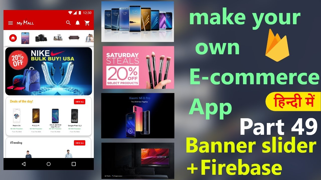 How to make an e-commerce android app?(Part-49)| Banner slider + Firebase |  Hindi Tutorial 2019