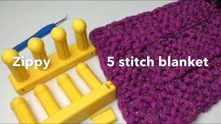 Zippy 5 Stitch Blanket Loom Along (with Closed Captions CC)