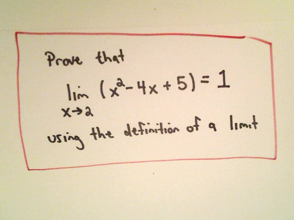 Precise Definition of a Limit - Example 2 Quadratic Function - YouTube