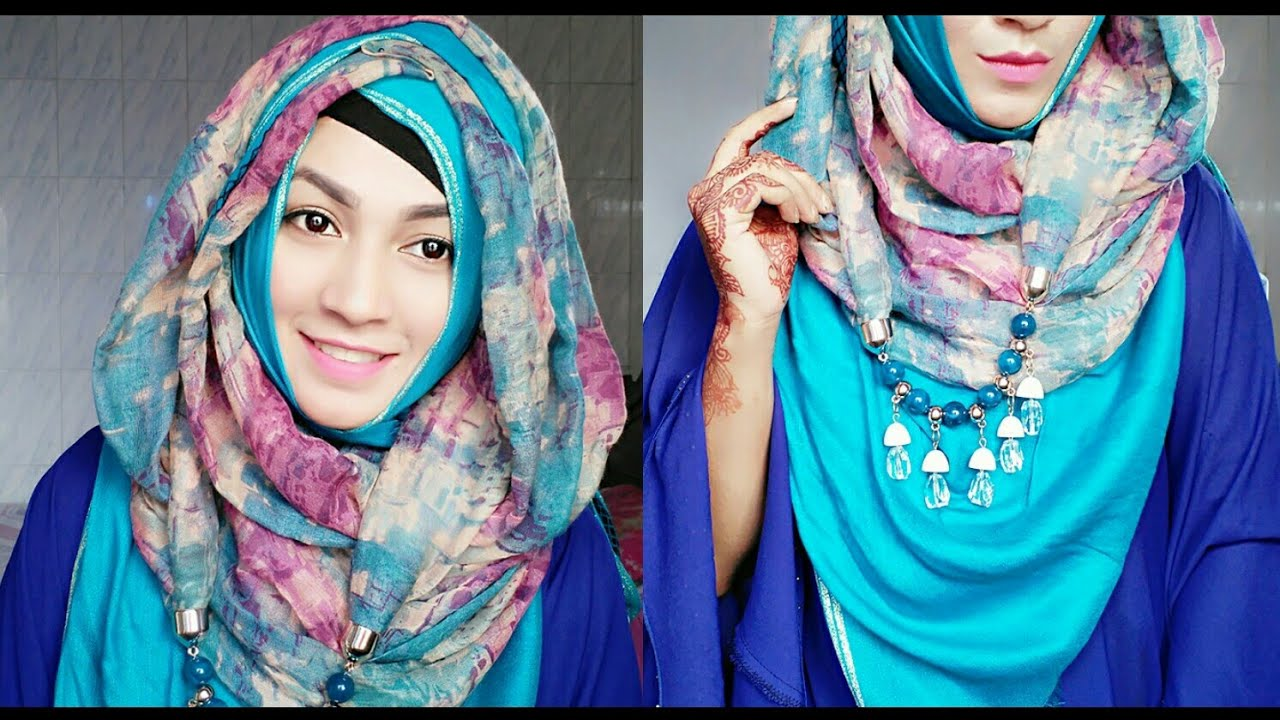 Eid special hijab style with necklace hijab ft styline collection.