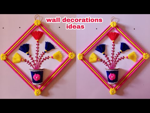 #wallhanging   #wallhanginghomedecor DIY EASY WALL DECOR!!WOOLEN TORAN!!WOOLEN CRAFT!!FLOWER PANTING