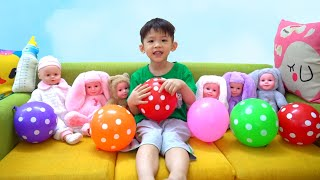 Xavi Pretend Play Cleaning to help Baby Dolls, Johny Johny Yes Papa song for kids