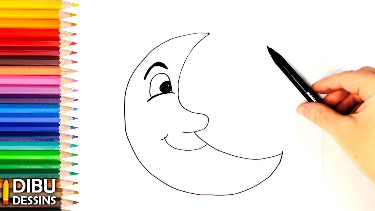 Comment Dessiner La Lune Dessin De La Lune Youtube
