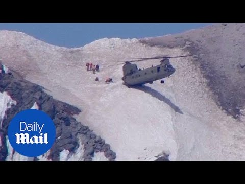 Chinook helicopter rescues man from summit of Mount Hood