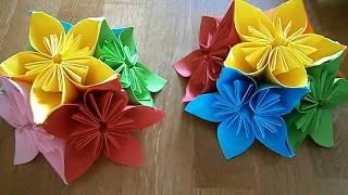 как сделать цветок кусудама из бумаги