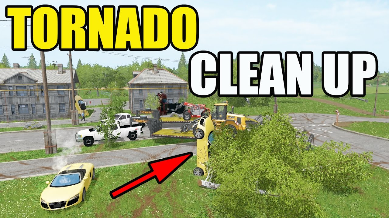 FARMING SIMULATOR 2017 | TORNADO CLEAN UP | HAULING AWAY JUNKED ...
