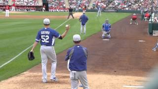 Dodgers pitcher Javy Guerra has dirty pitches warming up in bullpen