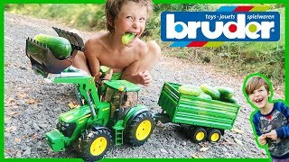 Bruder John Deere Tractor Harvests Organic Cucumbers!