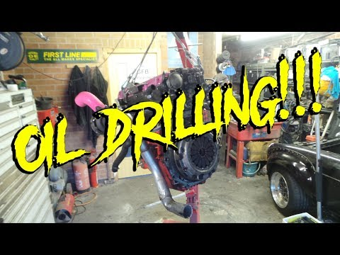 Drilling the sump.  MGB GT Turbo Build Part 3