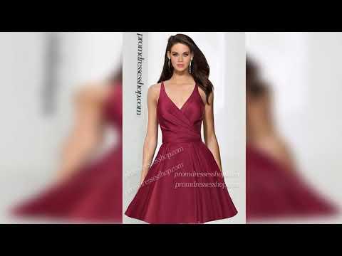 v-neck-satin-ruffle-open-back-spaghetti-strap-sleeveless-zipper-up-short-dress