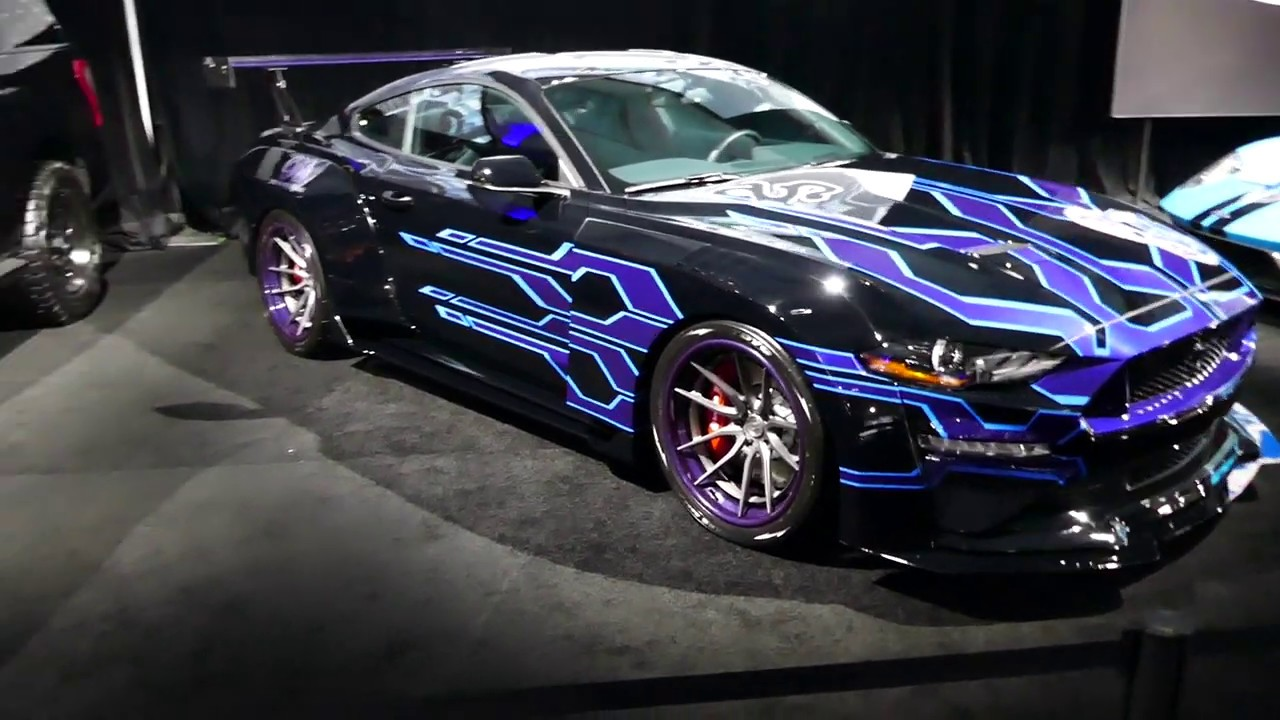 New Custom 2019 Ford Mustang Muscle Car Purple Graphics Vinyl Wrap