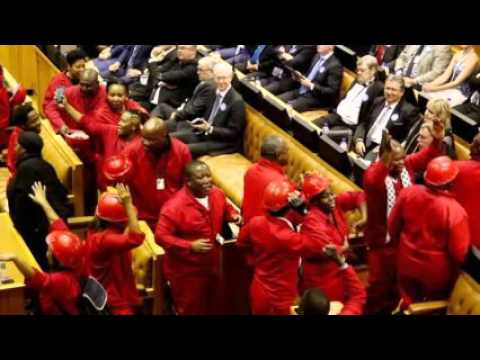 Opposition EFF MPs thrown out for heckling Zuma speech