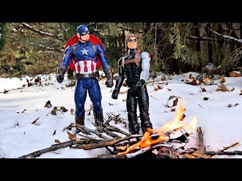 Iron Man vs Captain America & Bucky Part 1 - Titan Hero Action Figure Battle!