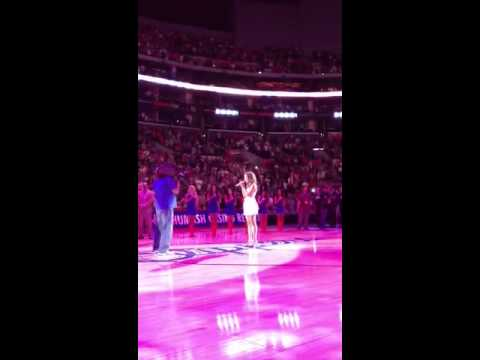 Live! Lauren Mayhew Sings The National Anthem At Staples Ce