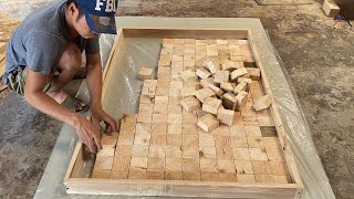 Amazing Best Design Idea Woodworking Projects  How To Building A Large Workbench With Square Blocks