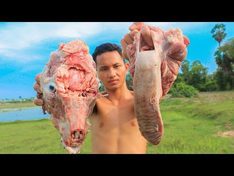 Primitive Technology: Cooking Pig's Tongue For Dinner
