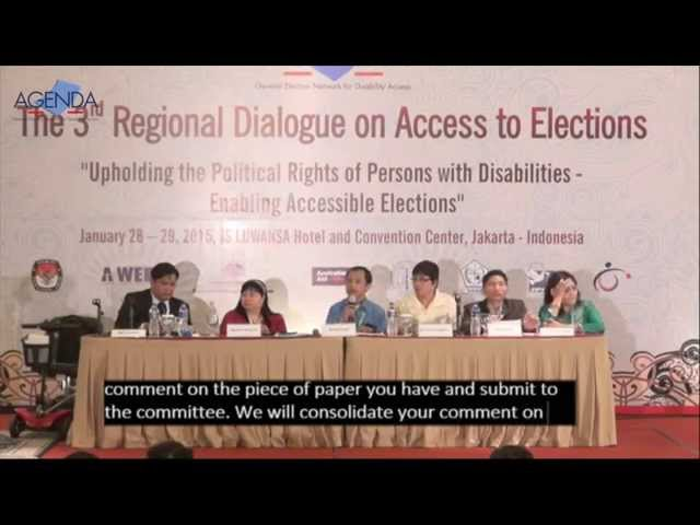 Plenary 8 Bali commitment on Equal Access to Elections - AGENDA 3rd Regional Dialogue
