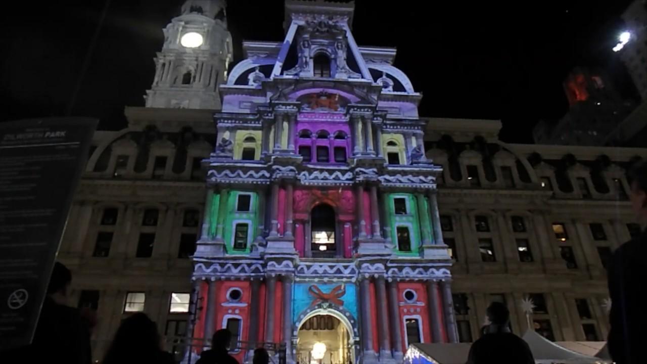 Deck the Hall Light Show at Philadelphia City Hall