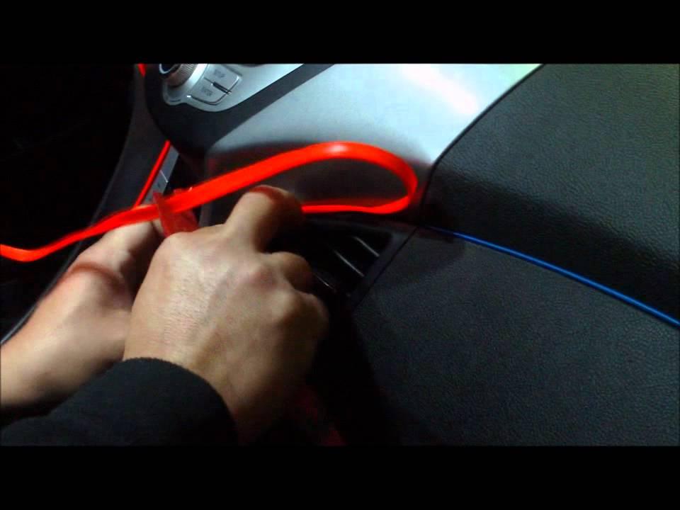 EL wire on radio bezel - YouTube