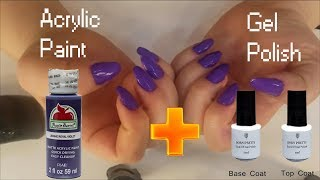 Doing My Nails With Acrylic Paint And Gel Polish