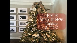 DECORATE WITH ME! | CHRISTMAS TREE HOW TO - RIBBON, GARLAND, & PICKS