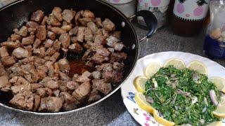 طريقة عمل قلي اللحم? بل صاج لذيذة جدا