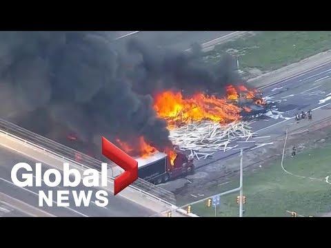 Major crash on I-70 in Denver, multiple vehicles on fire
