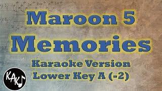 Maroon 5 - Memories Karaoke Instrumental Lyrics Cover Lower Key A
