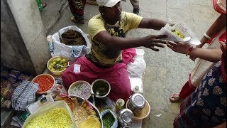 Bhel: Famous Indian Street Food of India by Onion Cutting Master Vinod Bhai at Bombay Market, Surat.