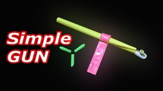 How to make a SIMPLE Paper Gun without glue that shoots paper bullet
