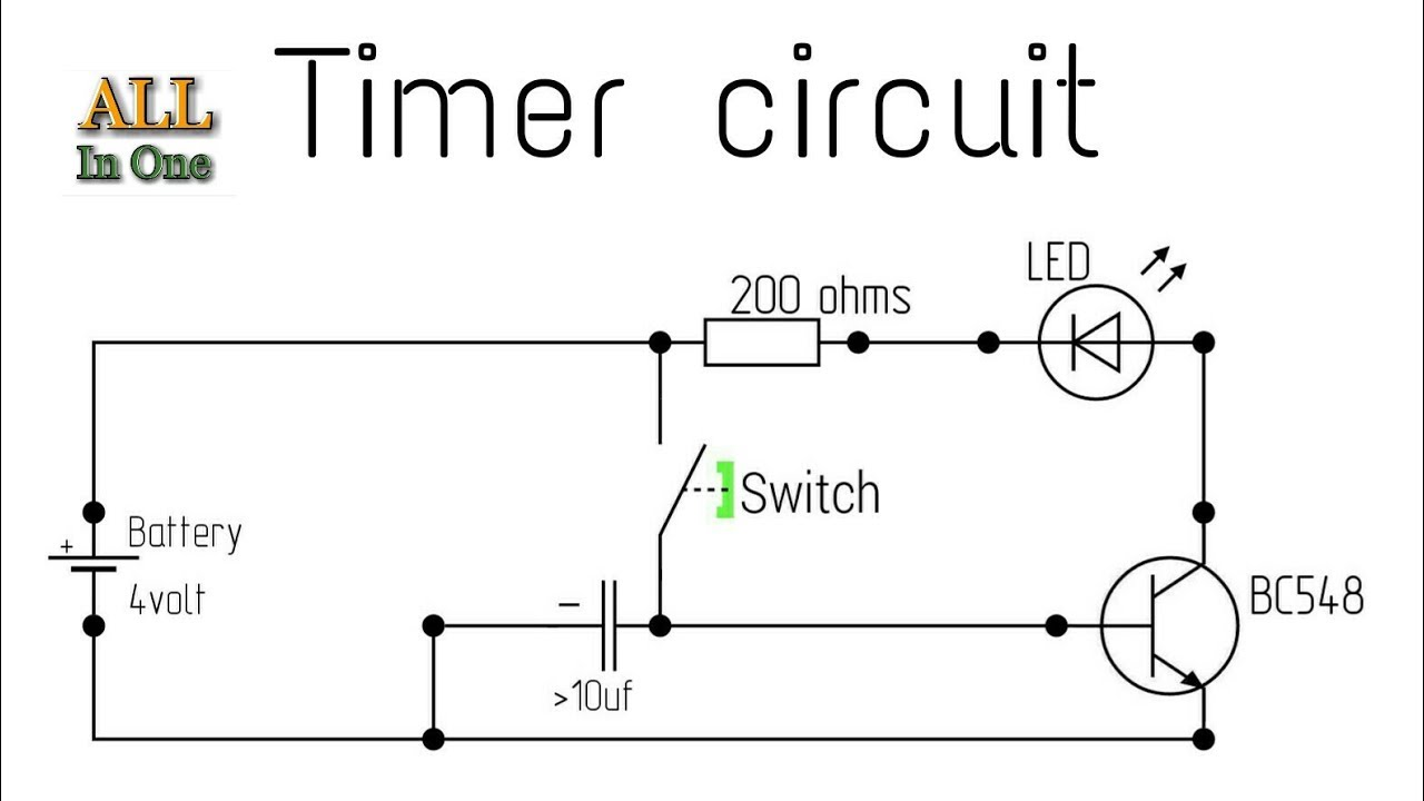 One transistor relay delay ON timer circuit Circuit diagram