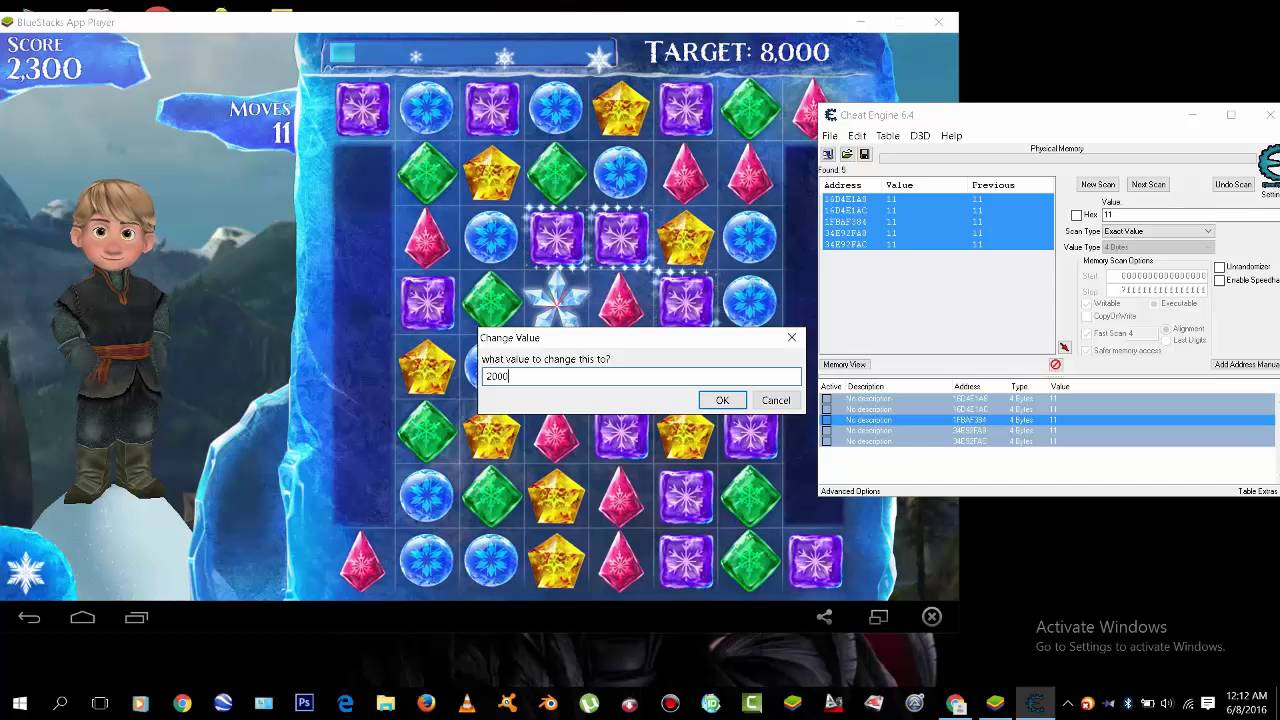 How to hack bluestack using Cheat engine