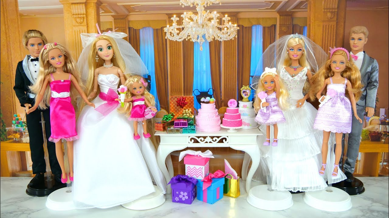 Barbie I Can Be A Bride Wedding Dress Playset Rapunzel Gaun pengantin boneka  Barbie Vestido de noiva 7ea45b359d