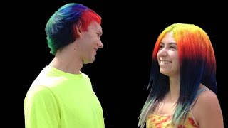Hair Dye DIY: Pink & Purple, Yellow, Neon Green Blacklight, Emerald, Rainbow, Red Spiral & Stars
