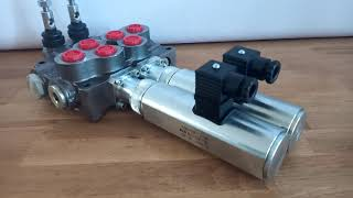 Hydraulic valve 2 sections HM line 90 l/min  24 gpm 12V double acting for cylinder spool video