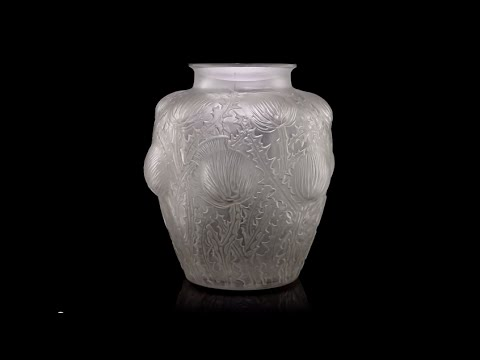 Antique 20thc French Rene Lalique Large Domremy Glass Vase C1926