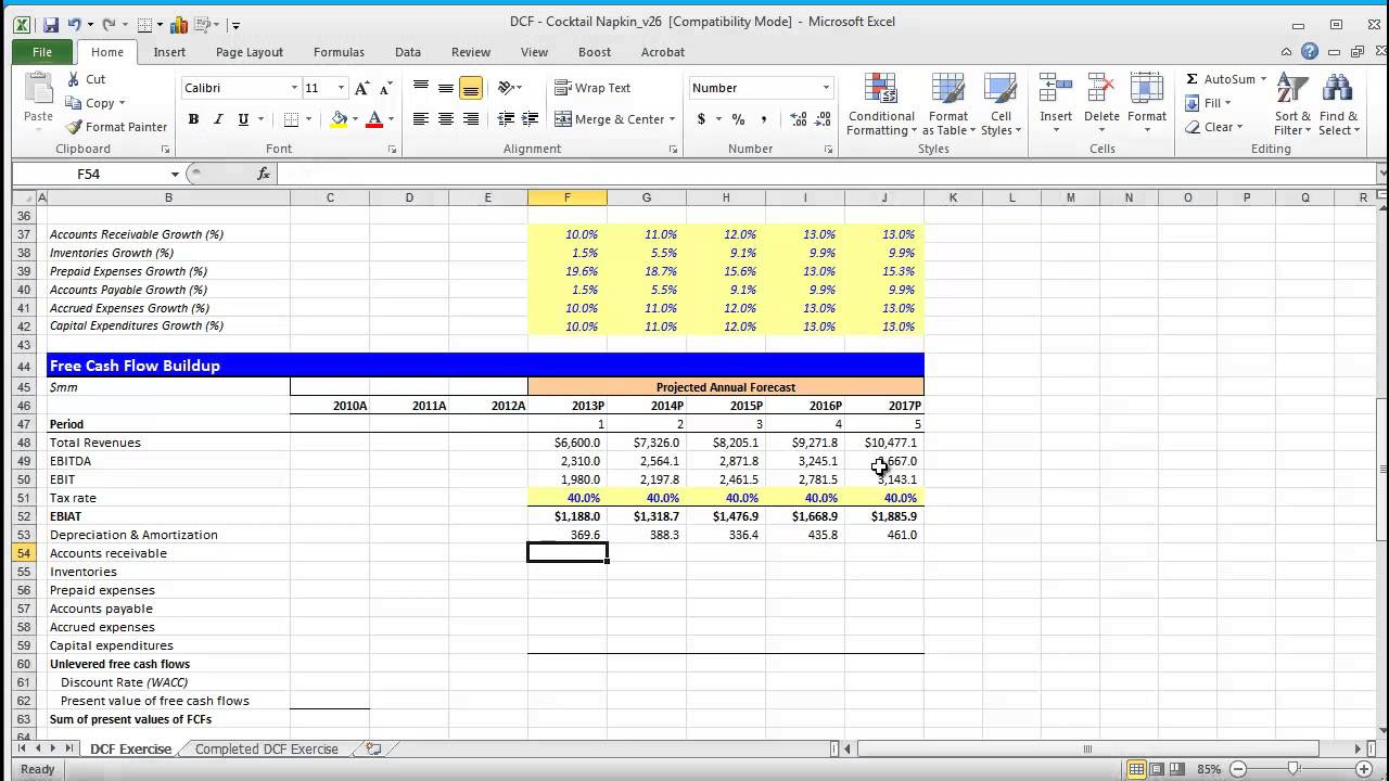 Financial modeling quick lesson building a discounted for Discounted cash flow analysis excel template