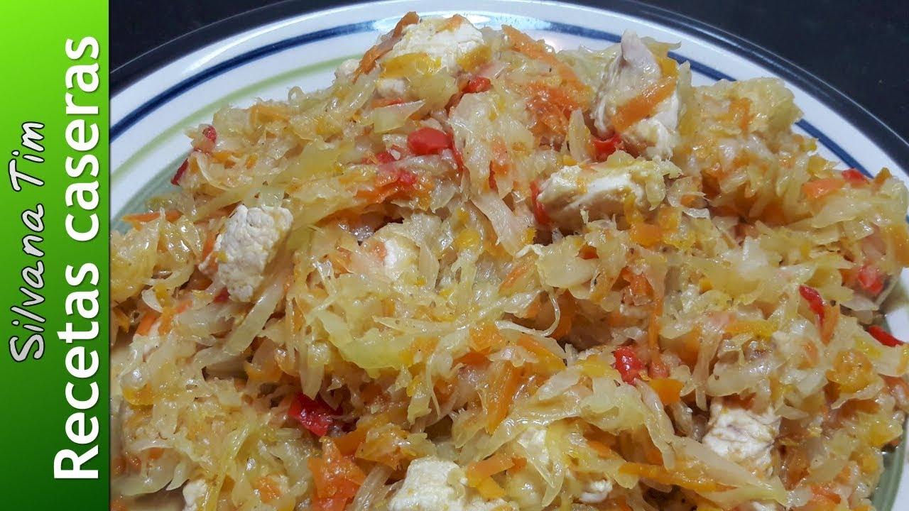 Receta de repollo guisado guiso con pechuga de pollo for Como preparar repollo