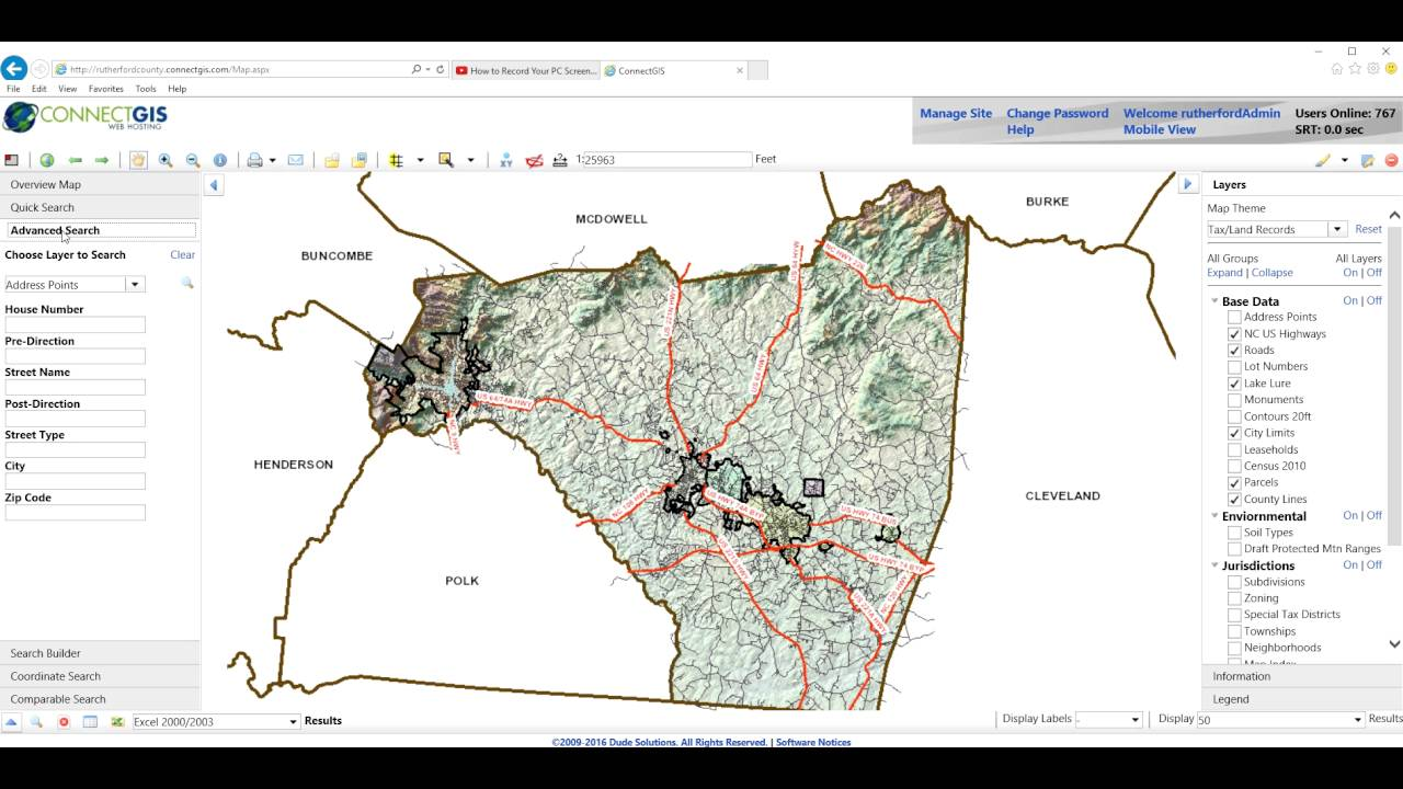 Rutherford County Nc Gis Windows And Layout Youtube